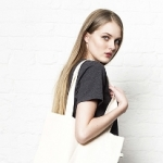 Woven Twill Shopper Tote Bag